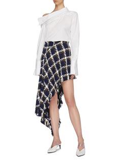 Monse Asymmetric check tweed skirt