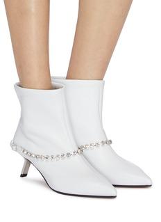 Alchimia di Ballin Slanted heel glass crystal belt leather ankle boots