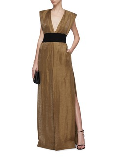 ZAID AFFAS Belted padded shoulder metallic V-neck gown