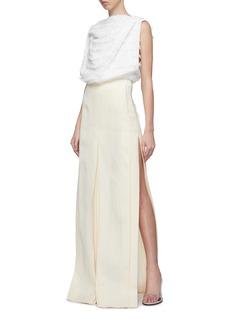 ZAID AFFAS Fringe stripe drape sleeveless top