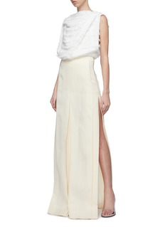 ZAID AFFAS Pleated front split side maxi skirt