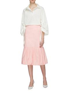 MING MA Puff pleated peplum skirt