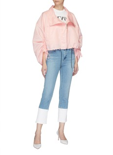MING MA Ruched sleeve cropped jacket