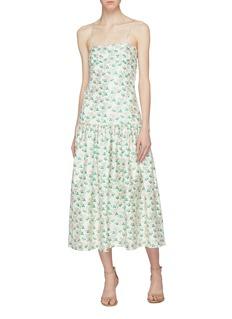 MING MA Floral brocade ruched hem slip dress