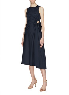 MING MA Ruched cutout drape sleeveless dress