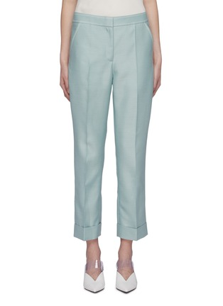 Main View - Click To Enlarge - THOMAS PUTTICK - Contrast topstitching roll cuff suiting pants