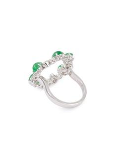 Samuel Kung Diamond jade 18k white gold cutout ring