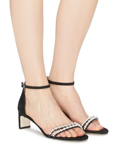 Pedder Red 'Aileen' faux pearl band ankle strap suede sandals