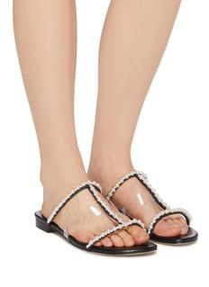 Pedder Red 'Camelia' embellished strappy leather sandals