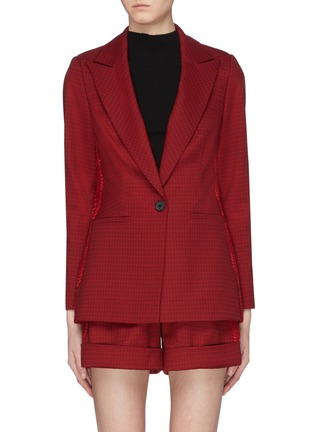 Main View - Click To Enlarge - SELF-PORTRAIT - Lace trim houndstooth blazer