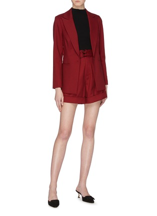 Figure View - Click To Enlarge - SELF-PORTRAIT - Lace trim houndstooth blazer