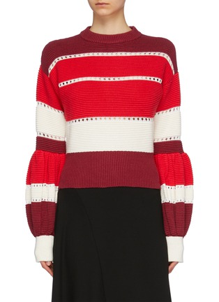 Main View - Click To Enlarge - self-portrait - Pleated puff sleeve open knit trim stripe sweater