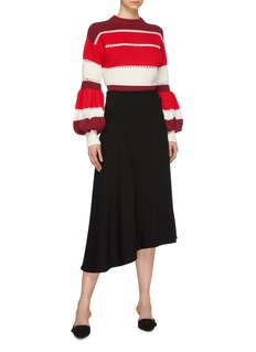 self-portrait Pleated puff sleeve open knit trim stripe sweater