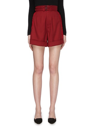 Main View - Click To Enlarge - self-portrait - Lace trim outseam houndstooth shorts