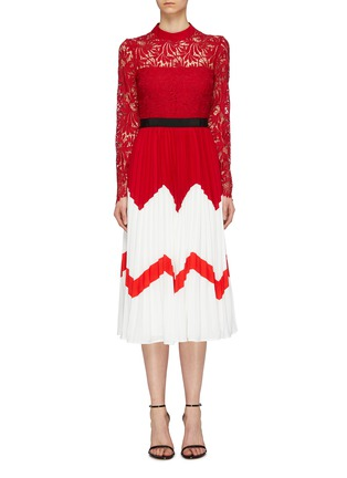 Main View - Click To Enlarge - self-portrait - Lace panel colourblock pleated dress