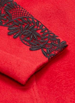 - self-portrait - Lace trim sleeve sash tie coat