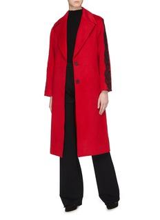 self-portrait Lace trim sleeve sash tie coat