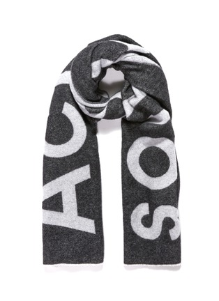 Main View - Click To Enlarge - Acne Studios - Logo jacquard wool blend scarf