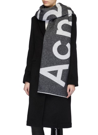 Figure View - Click To Enlarge - Acne Studios - Logo jacquard wool blend scarf