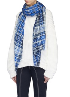Acne Studios Logo slogan print check plaid scarf