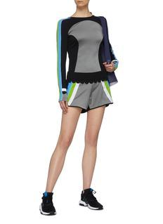 NO KA'OI 'Loli No' scalloped waistband colourblock stripe track shorts