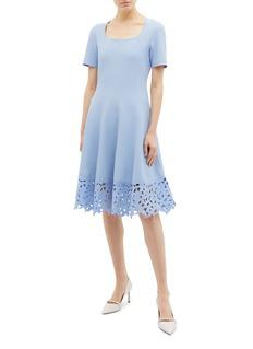 Oscar de la Renta Floral cutout patchwork hem dress