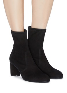 Stuart Weitzman 'Margot' cylinder heel stretch suede ankle boots