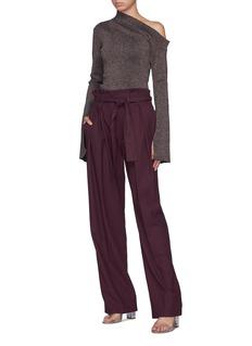 Solace London 'Noemi' split cuff metallic one-shoulder knit top