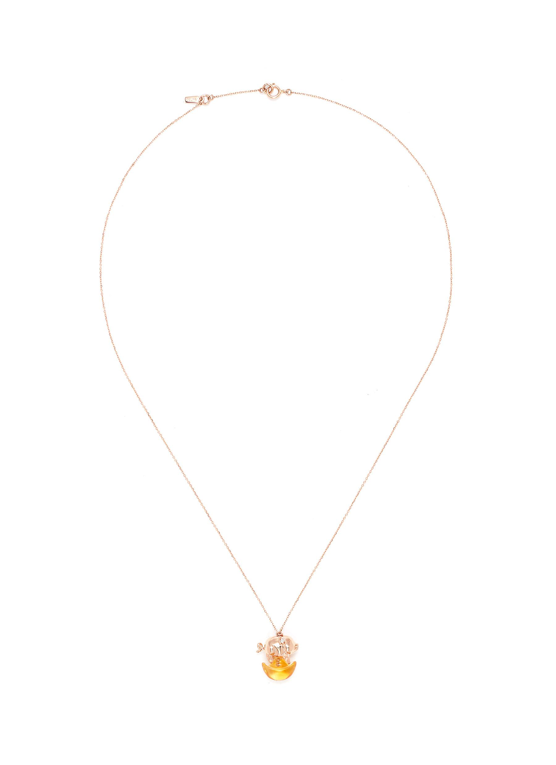 And the little ones' diamond citrine pig on coin pendant necklace