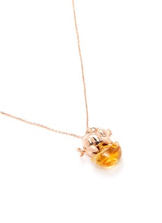 Bao Bao Wan 'And the little ones' diamond citrine pig on coin pendant necklace