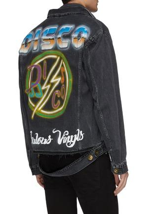 Back View - Click To Enlarge - MIHARAYASUHIRO - Layered collar graphic slogan print denim jacket