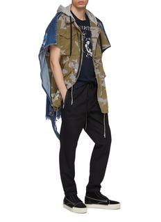 MIHARAYASUHIRO Denim back panel hooded camouflage print vest