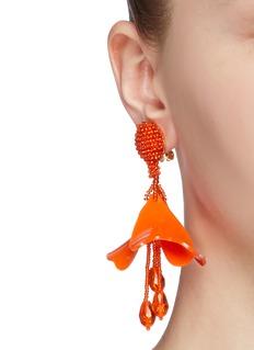 Oscar de la Renta 'Small Impatiens' petal glass crystal drop clip earrings