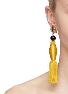 Oscar de la Renta Tassel drop clip earrings