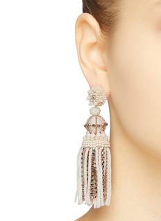 Oscar de la Renta Bead stud chain fringe drop earrings