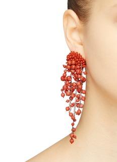 Oscar de la Renta Bead cluster fringe drop clip earrings