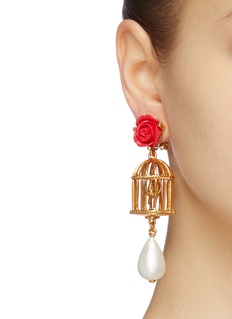 Oscar de la Renta Rose stud birdcage faux pearl drop clip earrings