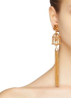 Oscar de la Renta Bird cage tassel drop clip earrings