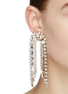 Rosantica 'Gelo' faux pearl glass crystal fringe clip earrings