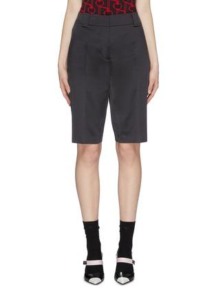Main View - Click To Enlarge - PRADA - Logo plate pocket satin Bermuda shorts