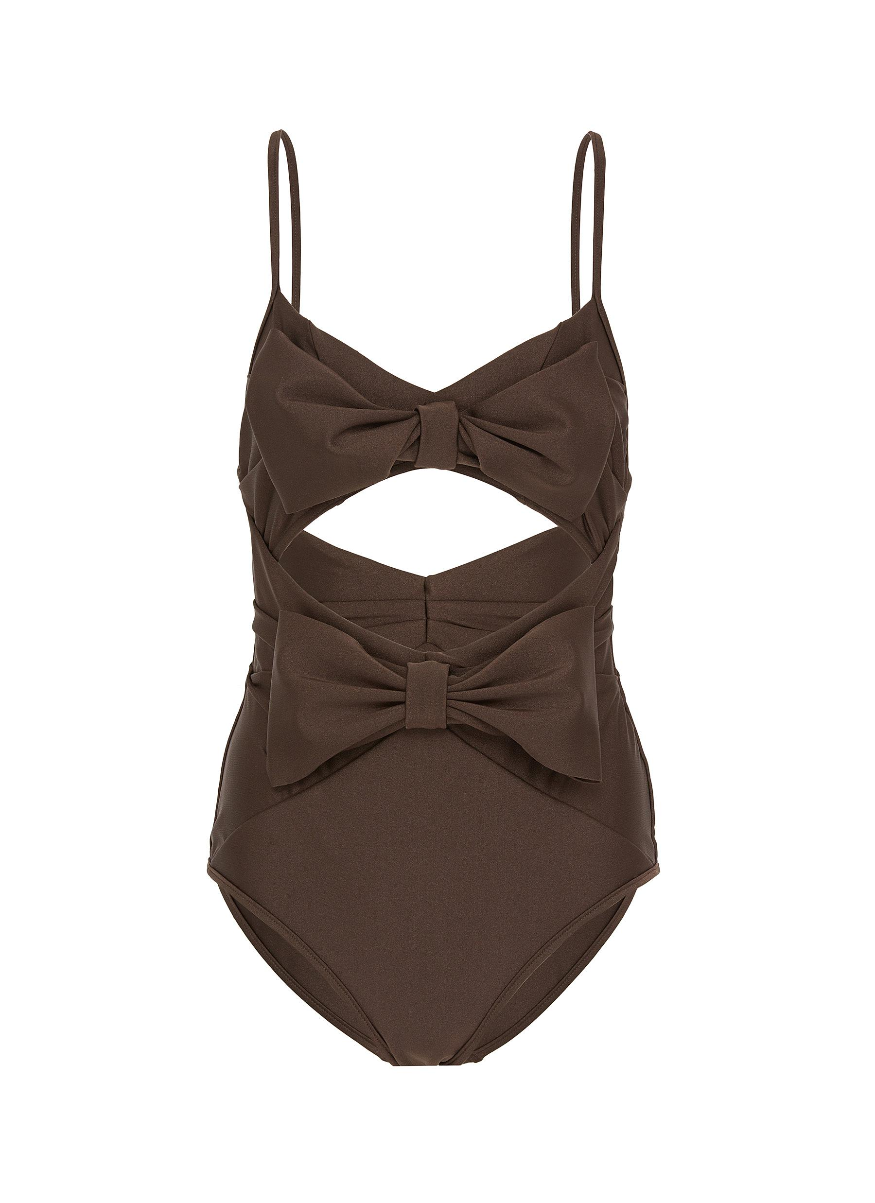 Corsage bow front cutout one-piece swimsuit by Zimmermann