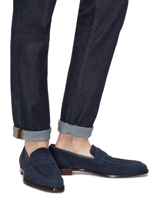 Figure View - Click To Enlarge - GEORGE CLEVERLEY - 'George' suede penny loafers