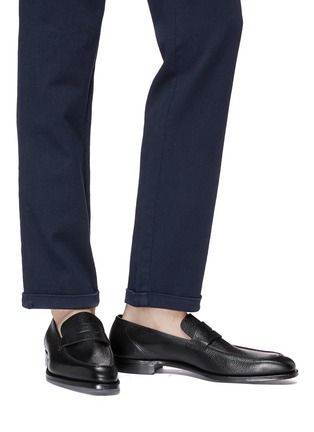 Figure View - Click To Enlarge - GEORGE CLEVERLEY - 'George' Scotch grain leather penny loafers