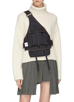 Figure View - Click To Enlarge - Chris Ran Lin - Patch pocket denim harness bag