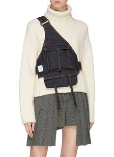 Chris Ran Lin Patch pocket denim harness bag
