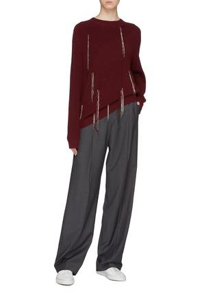 Figure View - Click To Enlarge - Chris Ran Lin - Chain tassel Merino wool rib knit sweater