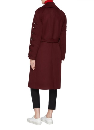Back View - Click To Enlarge - Chris Ran Lin - Button tab sleeve belted coat