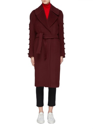 Main View - Click To Enlarge - Chris Ran Lin - Button tab sleeve belted coat