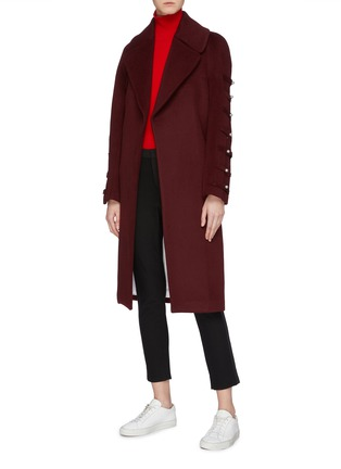 Figure View - Click To Enlarge - Chris Ran Lin - Button tab sleeve belted coat