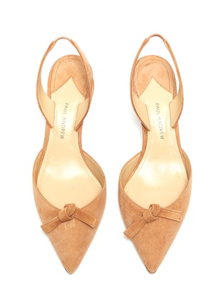Detail View - Click To Enlarge - PAUL ANDREW - 'Rhea' knot suede slingback pumps